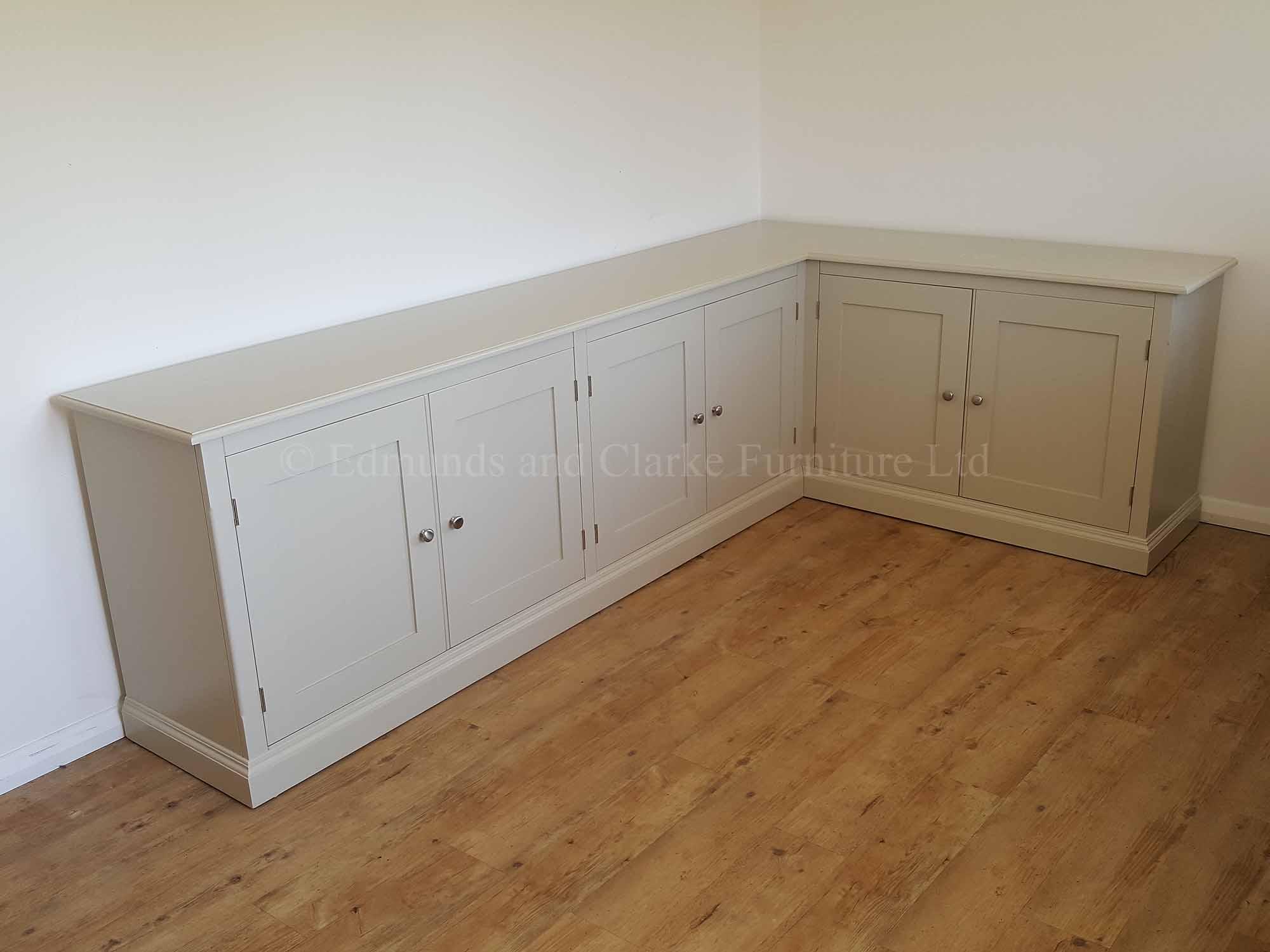 Edmunds painted corner bookcase base cupboards 6 doors