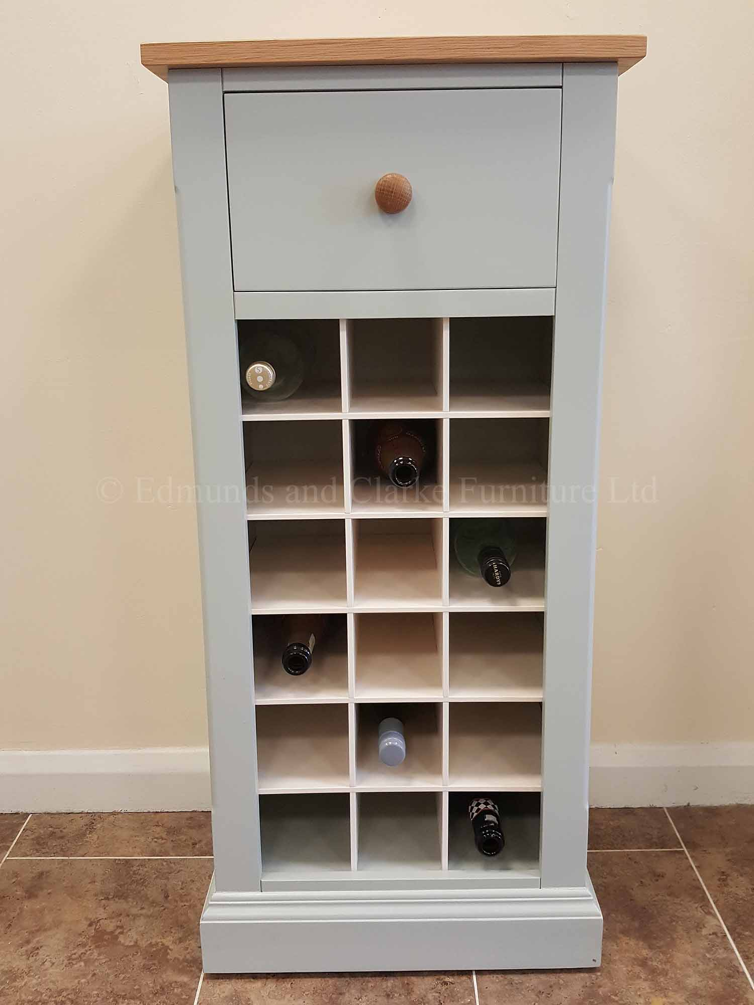 18 bottle wine rack with drawer above painted with solid oak top