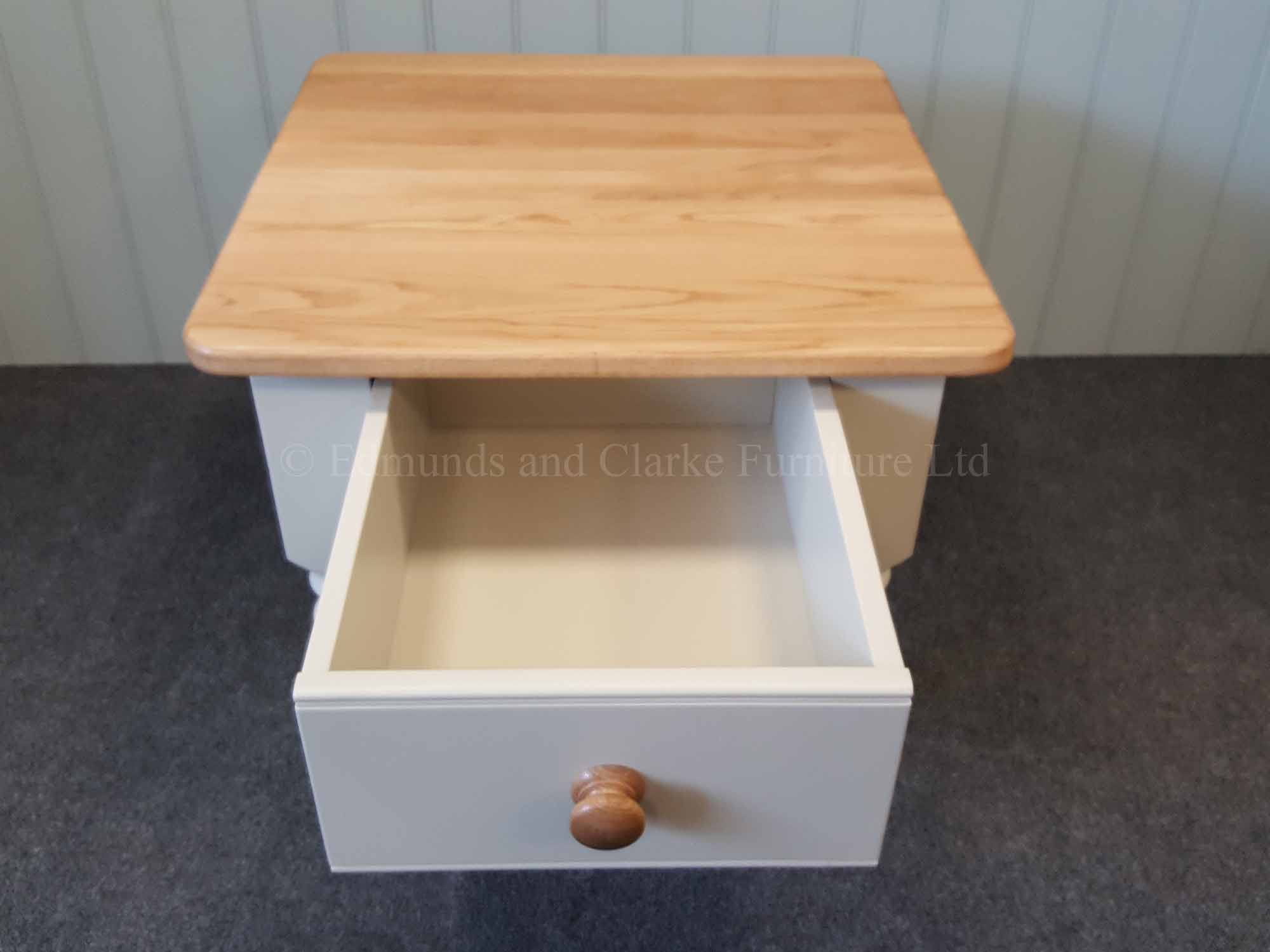 Painted coffee table large drawer 2' x 2' turned legs oak top