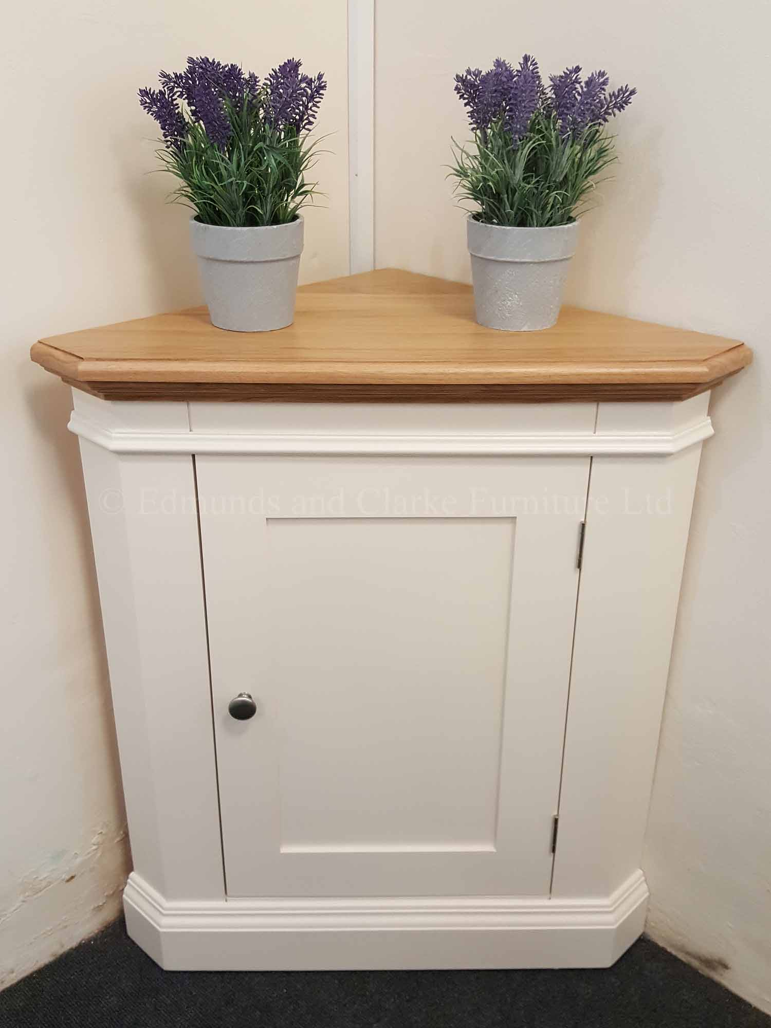 Painted low edmunds corner cupboard with single door oak top