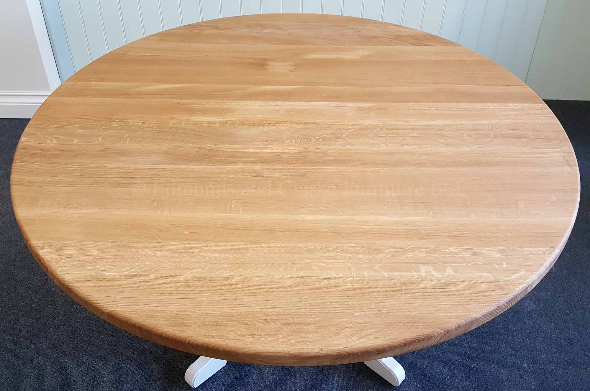 5ft circular dining table solid oak top and painted pedestal