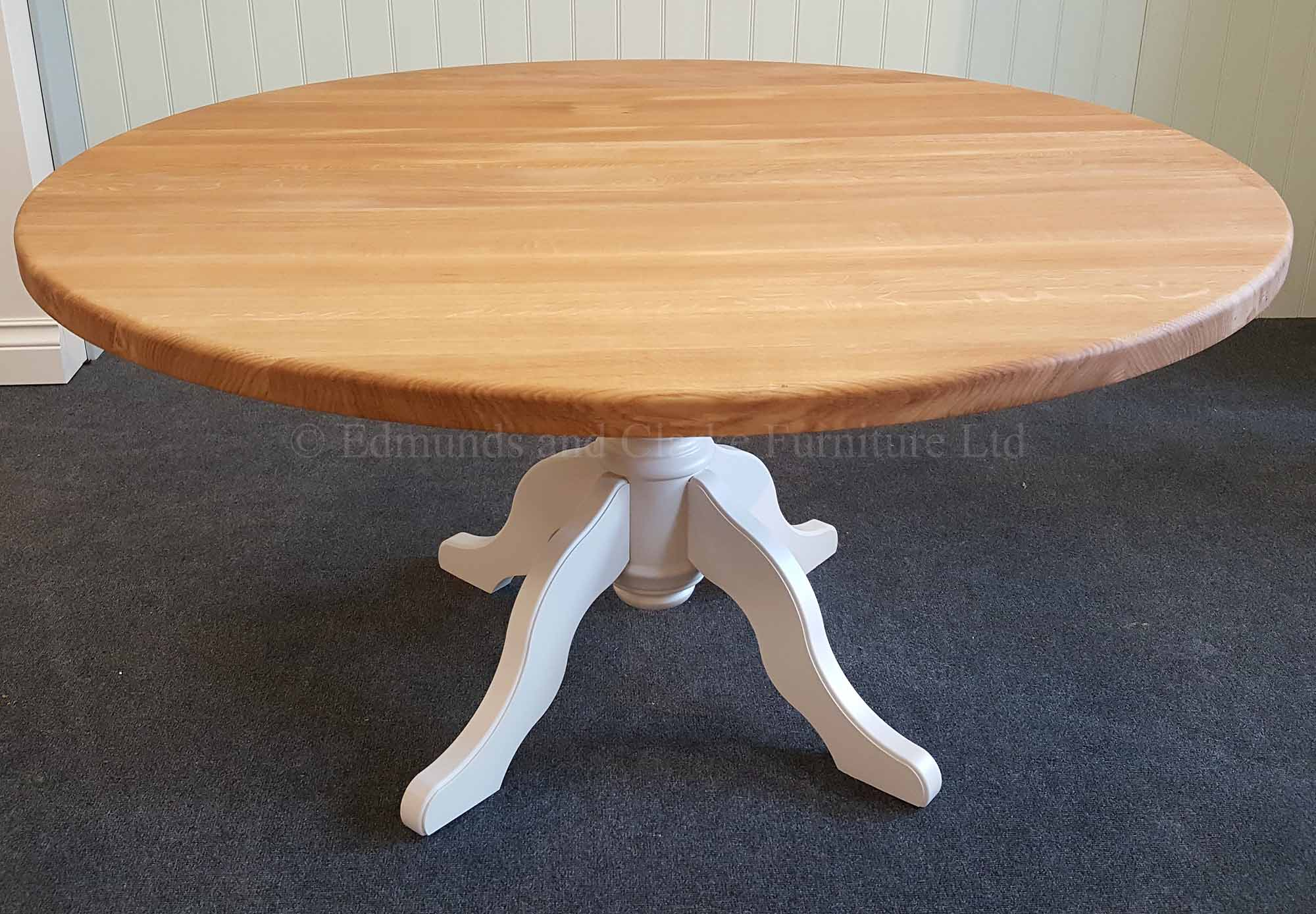 5' Round circular dining table, painted pedestal and choice of tops