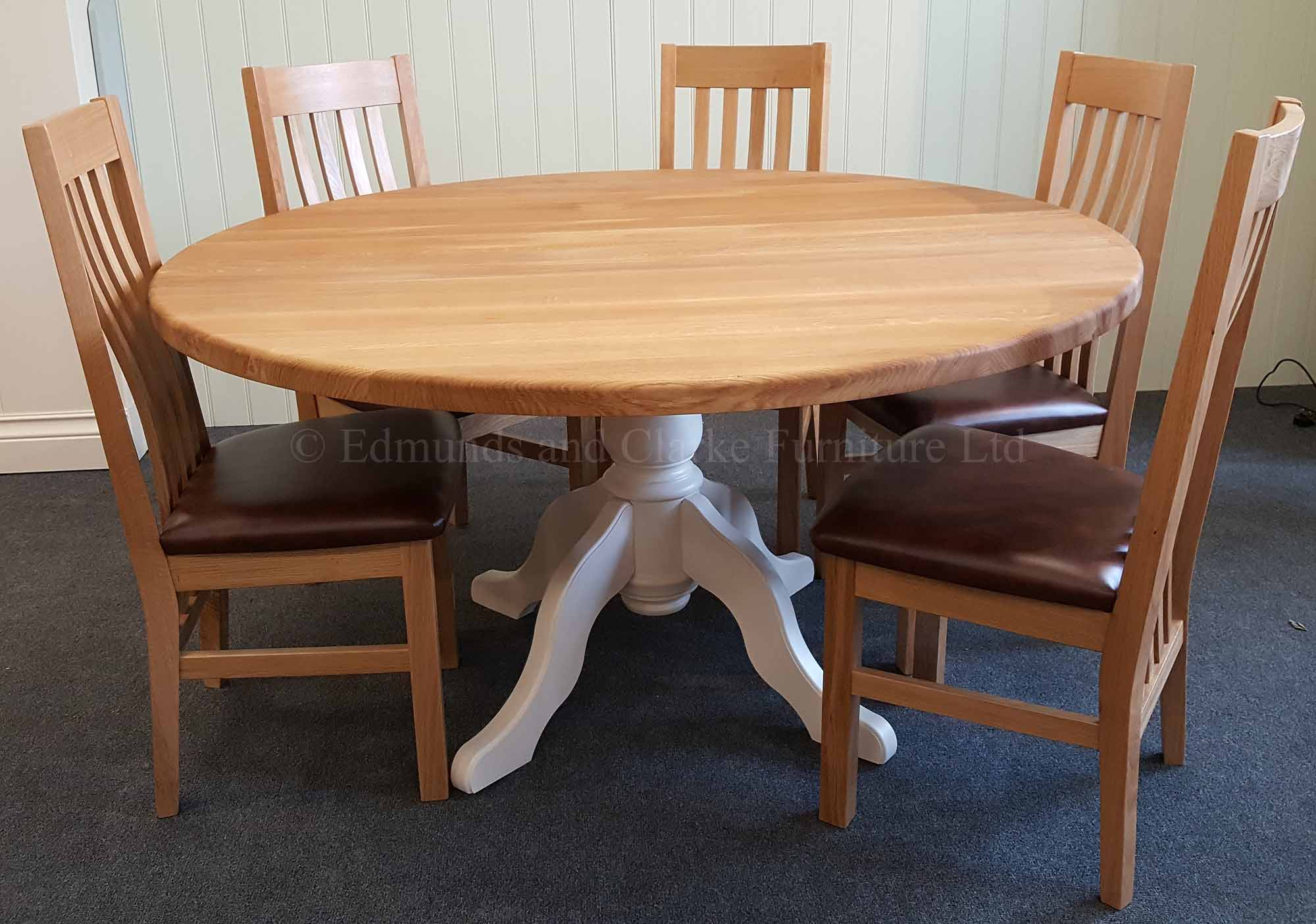 5ft Round circular dining table painted pedestal solid oak top