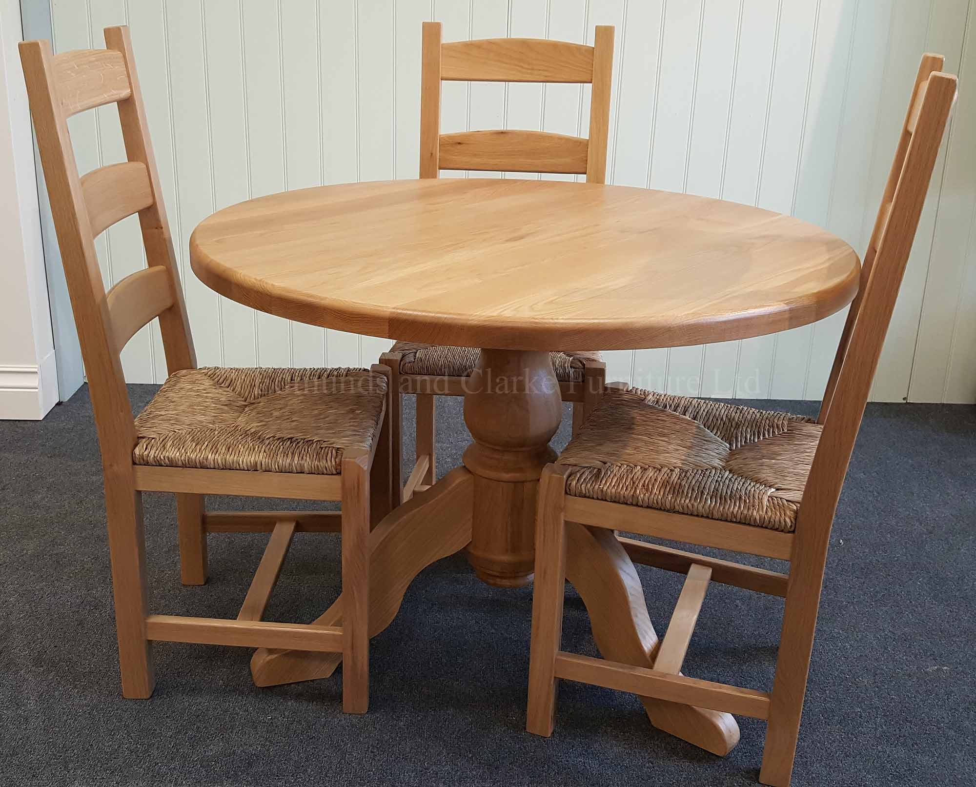 3' round solid oak dining table