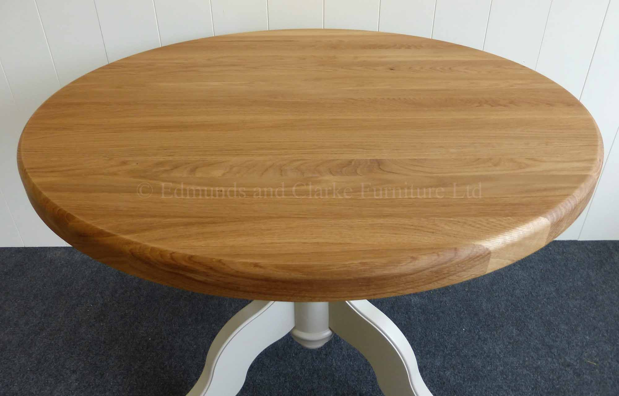 3ft Round circular dining table painted pedestal oak top
