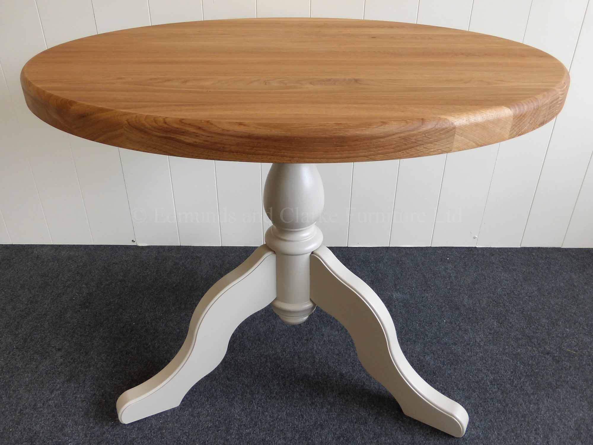 3 feet round circular dining table with central pedestal painted with either oak or pine tops