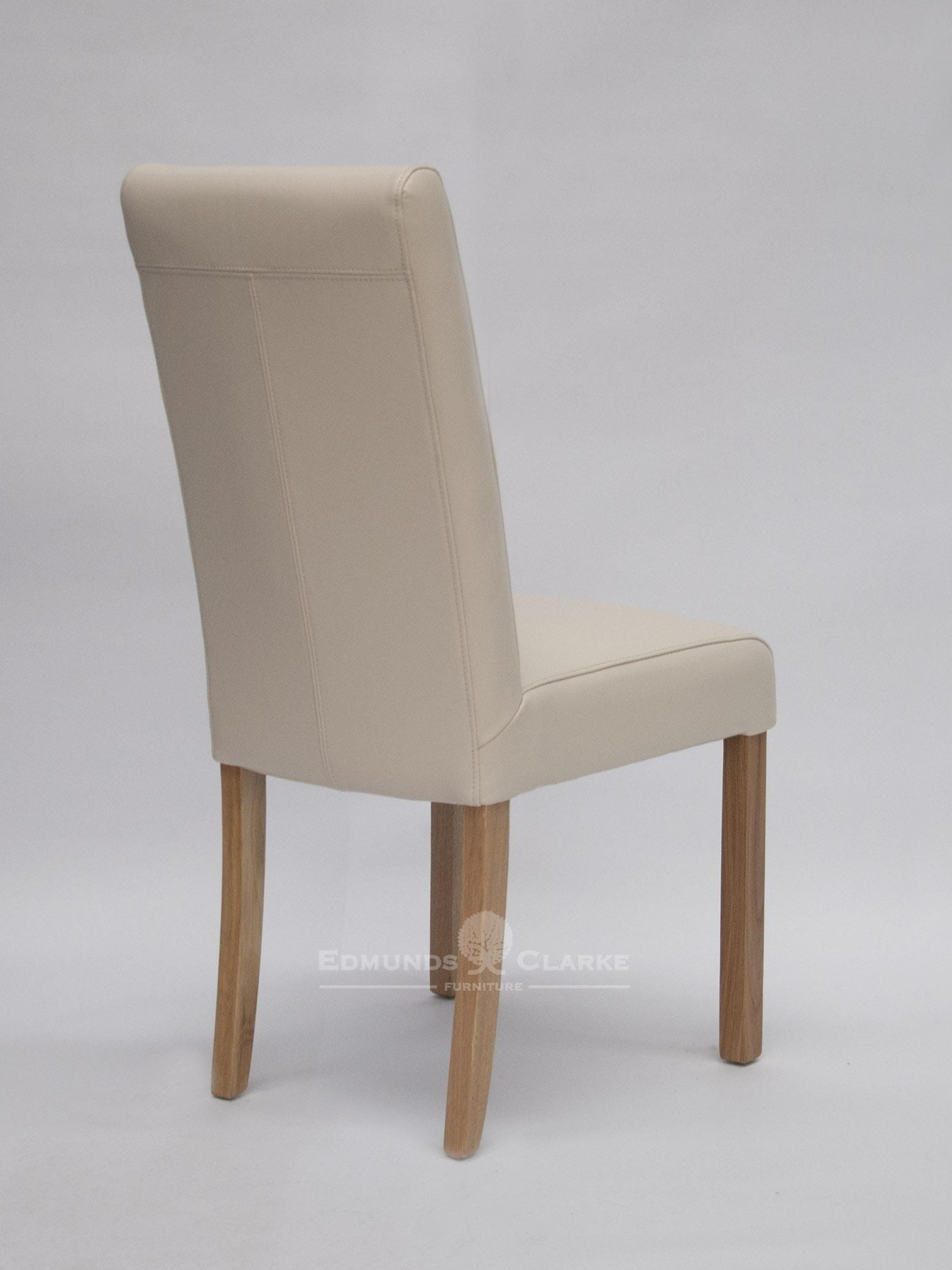 Mariana cream leather chair oak legs