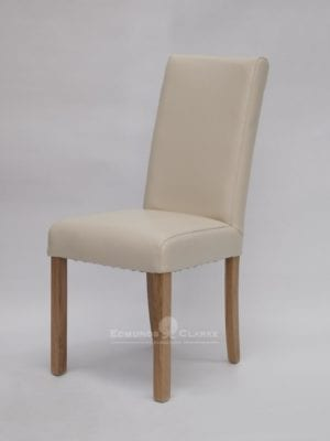 Marianna Ivory Bycast Leather dining chair. high back oak legs