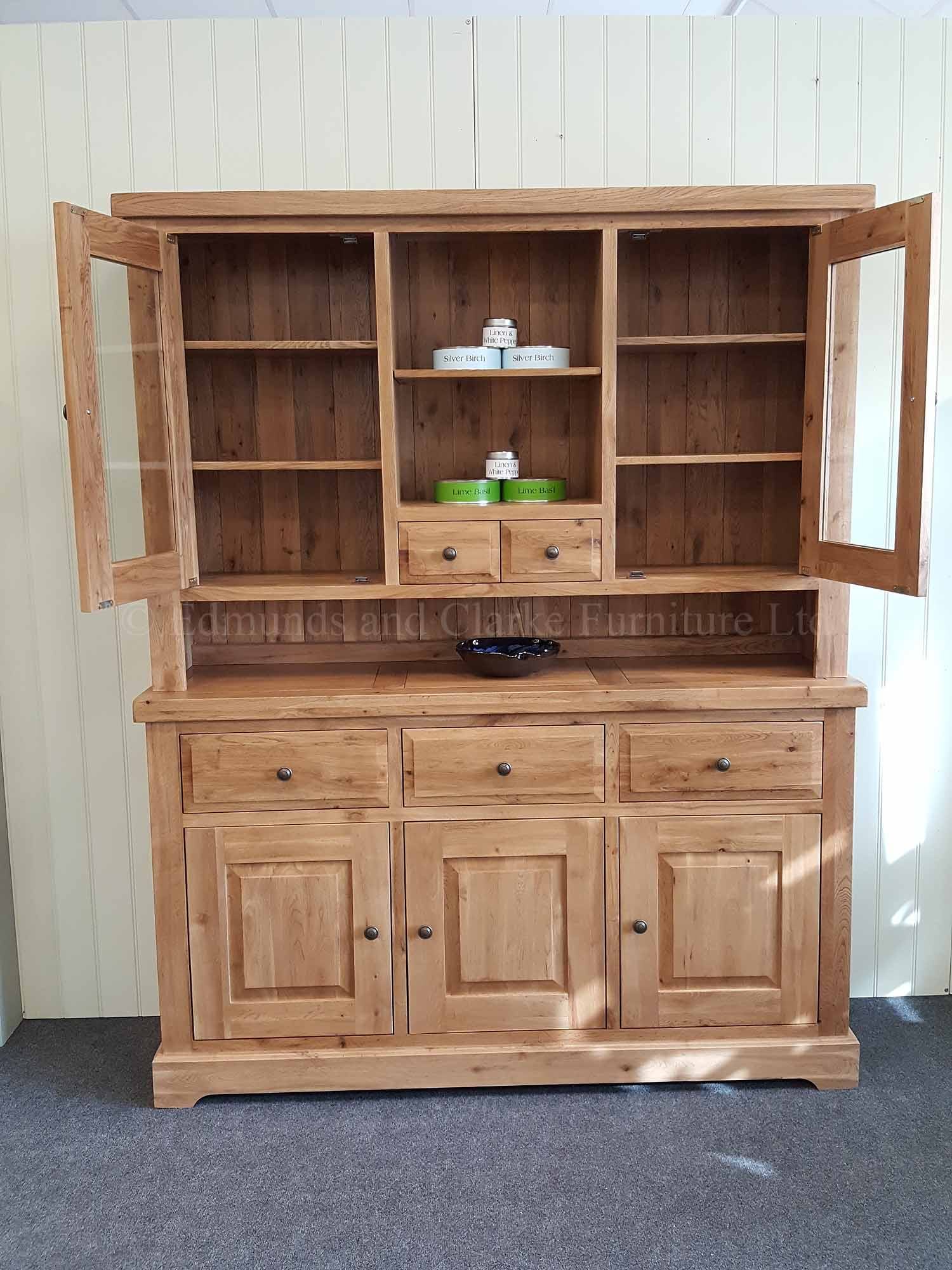 Dresser made from solid oak with glazed doors in rack and loose wine rack in sideboard