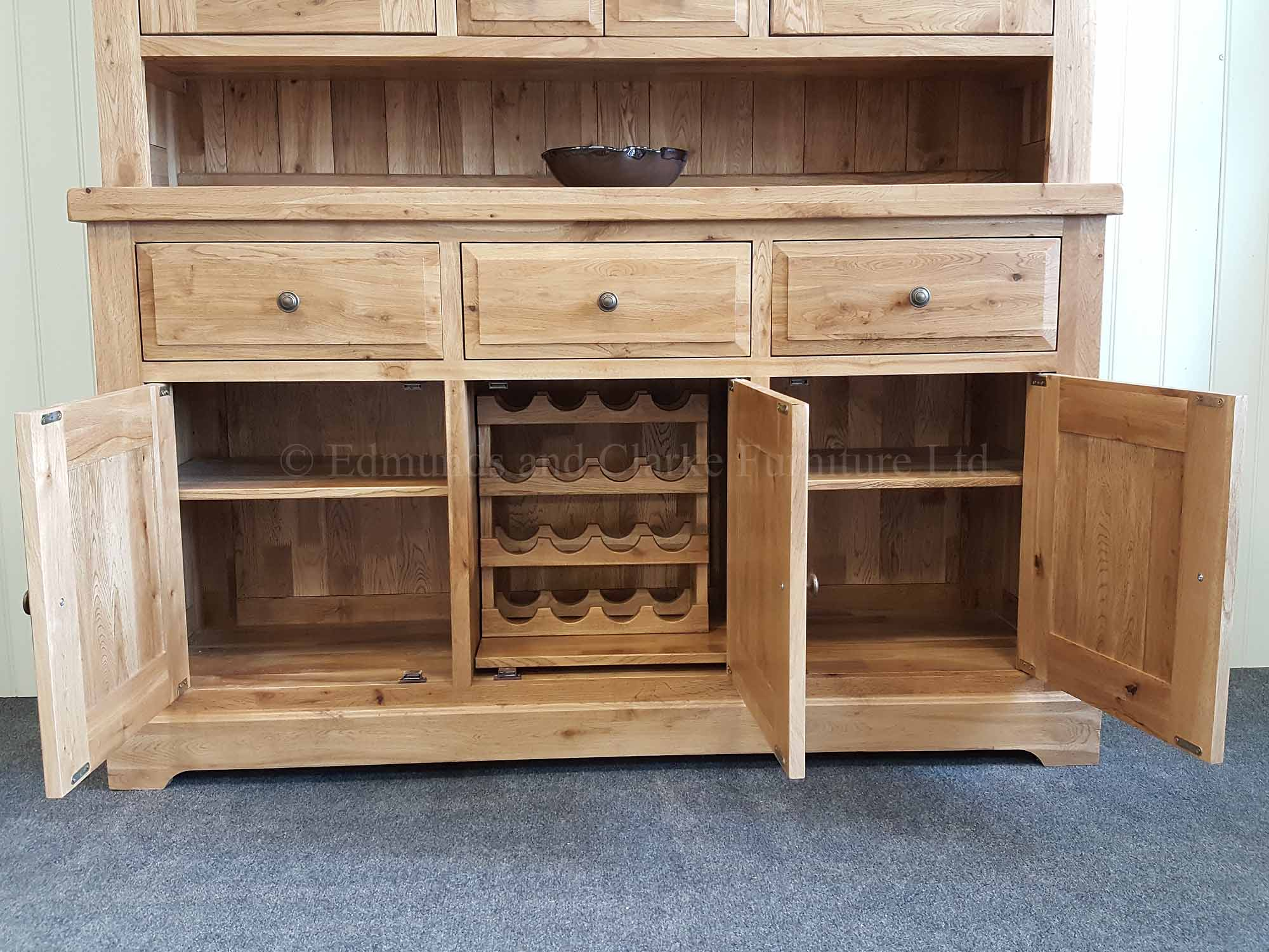 Kitchen dresser made from solid oak with loose wine rack in sideboard