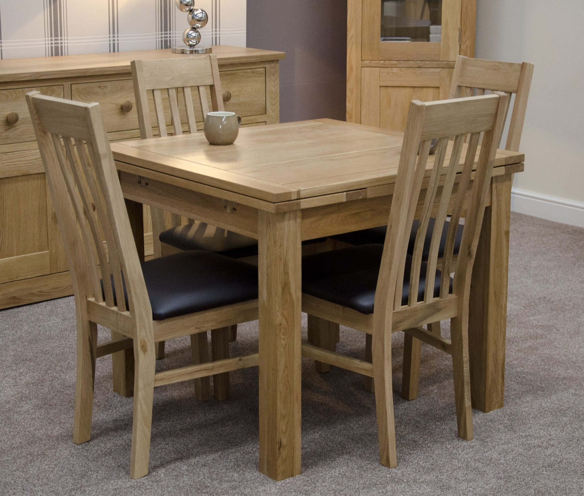 woodbridge oak drawer leaf dining table
