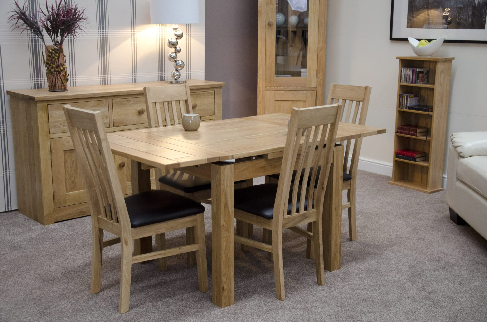 Oak small 3' x 3' drawer leaf dining table