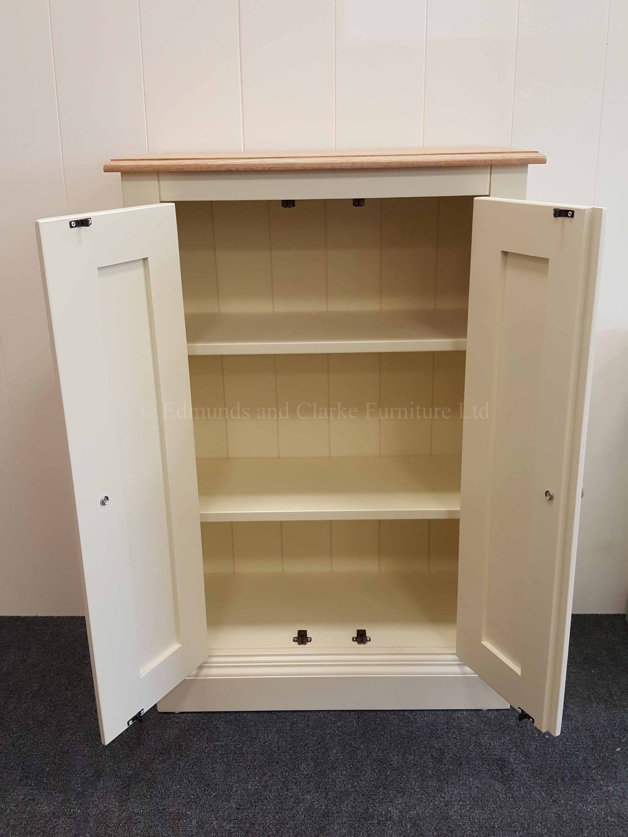 Two door painted cupboard, internal adjustable shelves, oak top