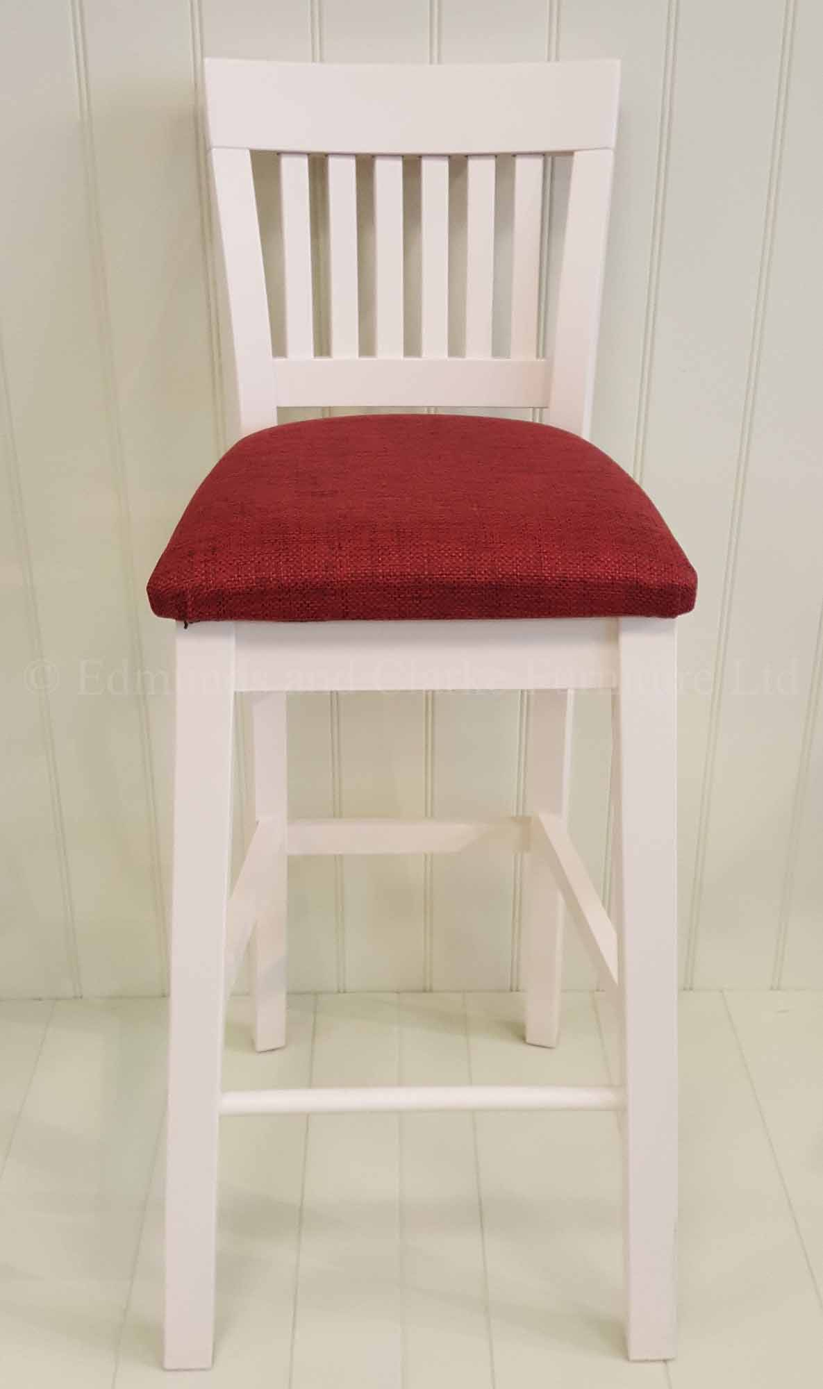 Linden kitchen high bar stool, painted white with red fabric seat