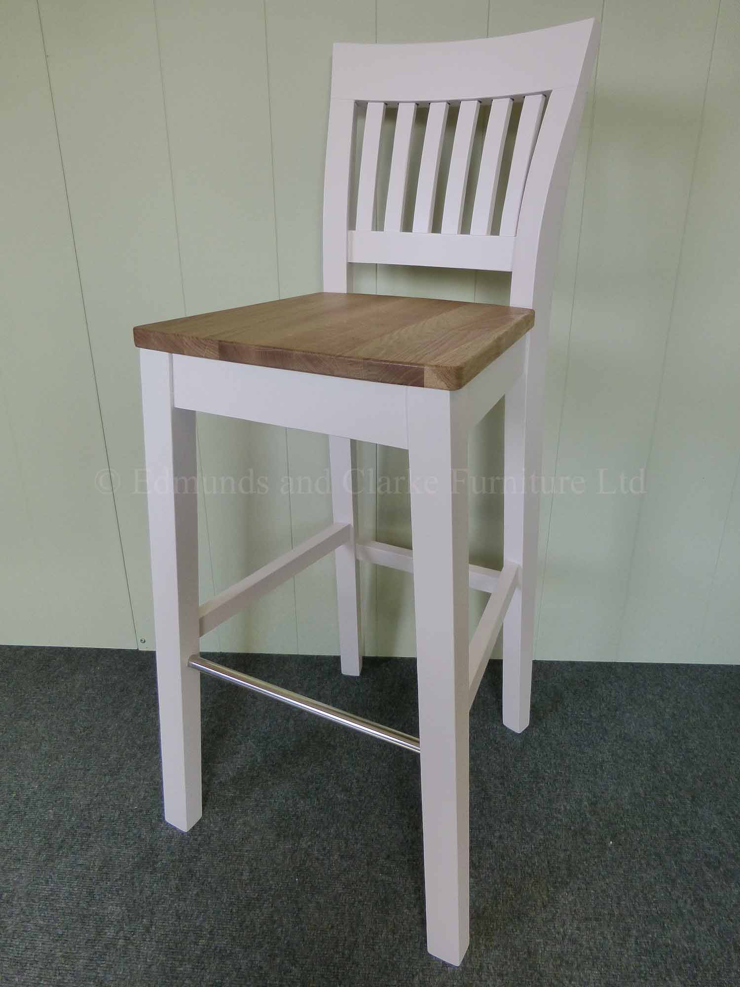 Linden high breakfast bar stool painted white with waxed beech seat
