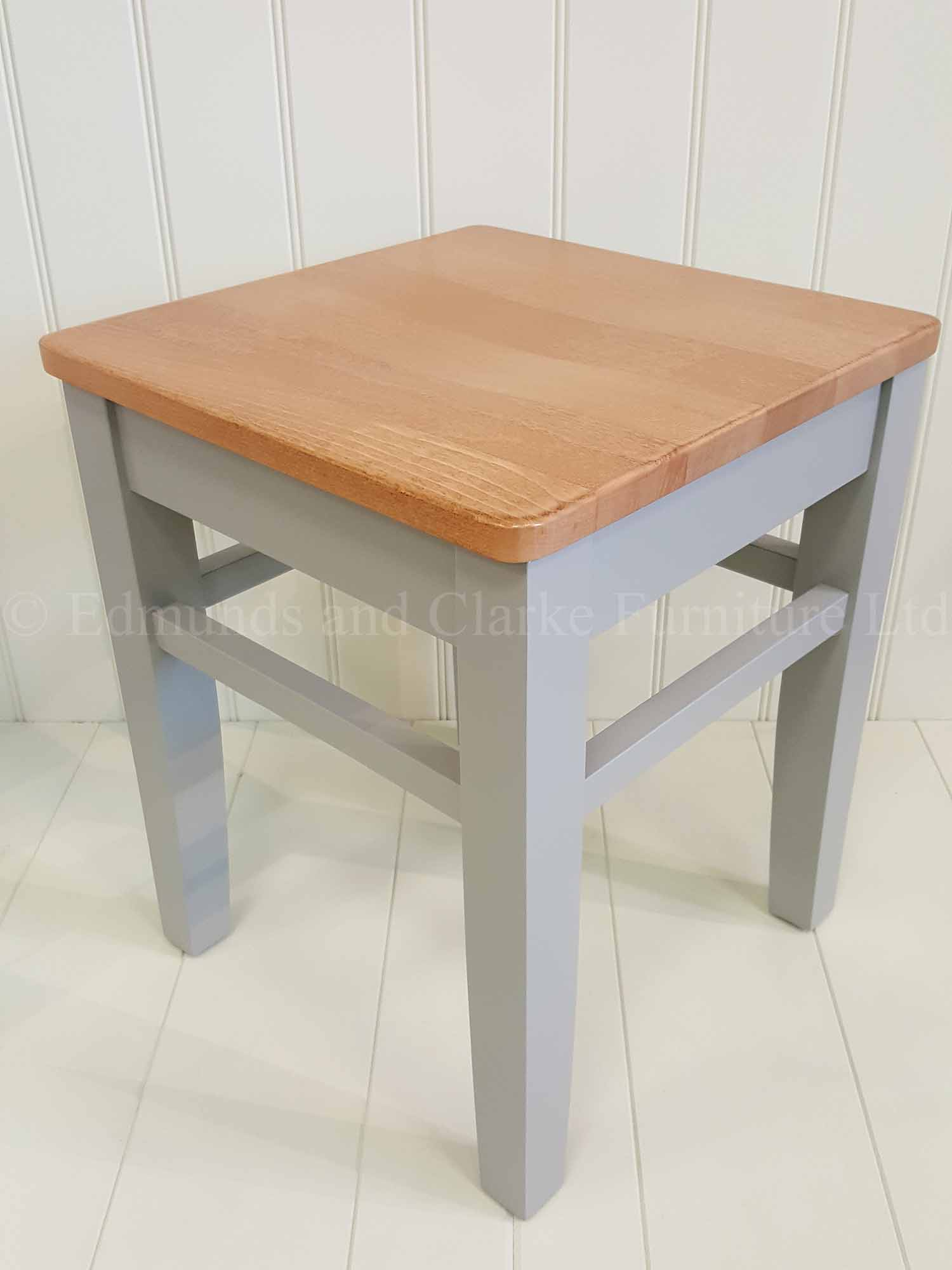 Low shaker style four leg stool with wooden top painted in a choice of colours