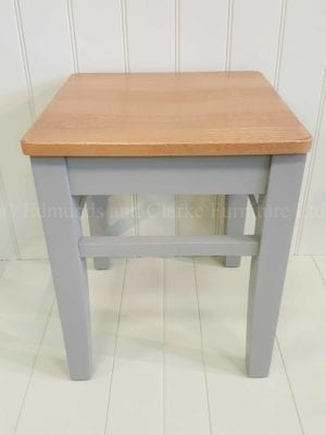 low clarke stool painted with oak seat. 10 colours available. great for that extra seating solution around a table