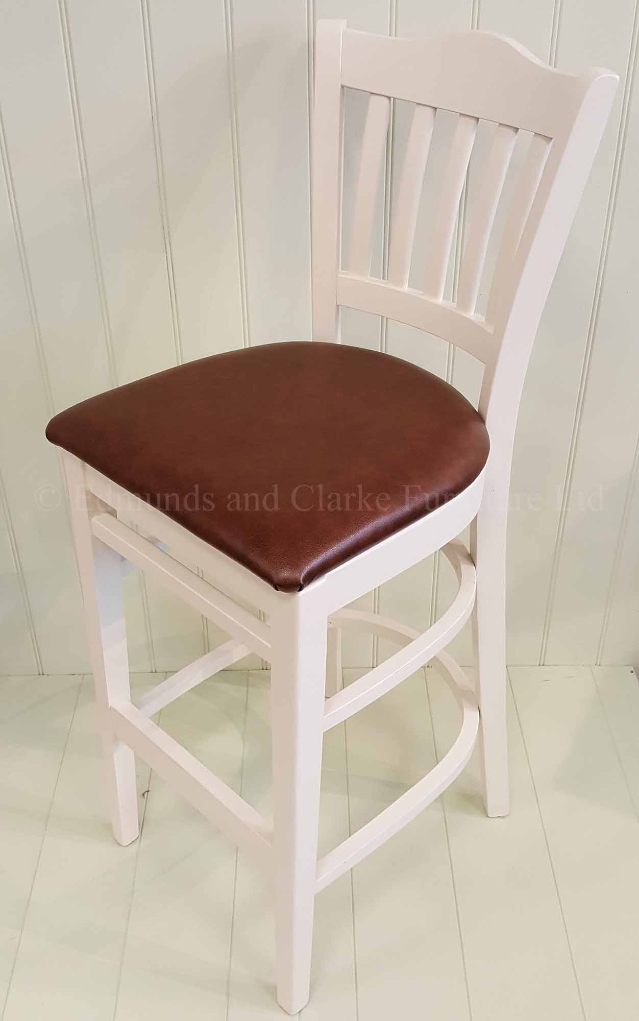 High painted kitchen bar stool painted with leather seat