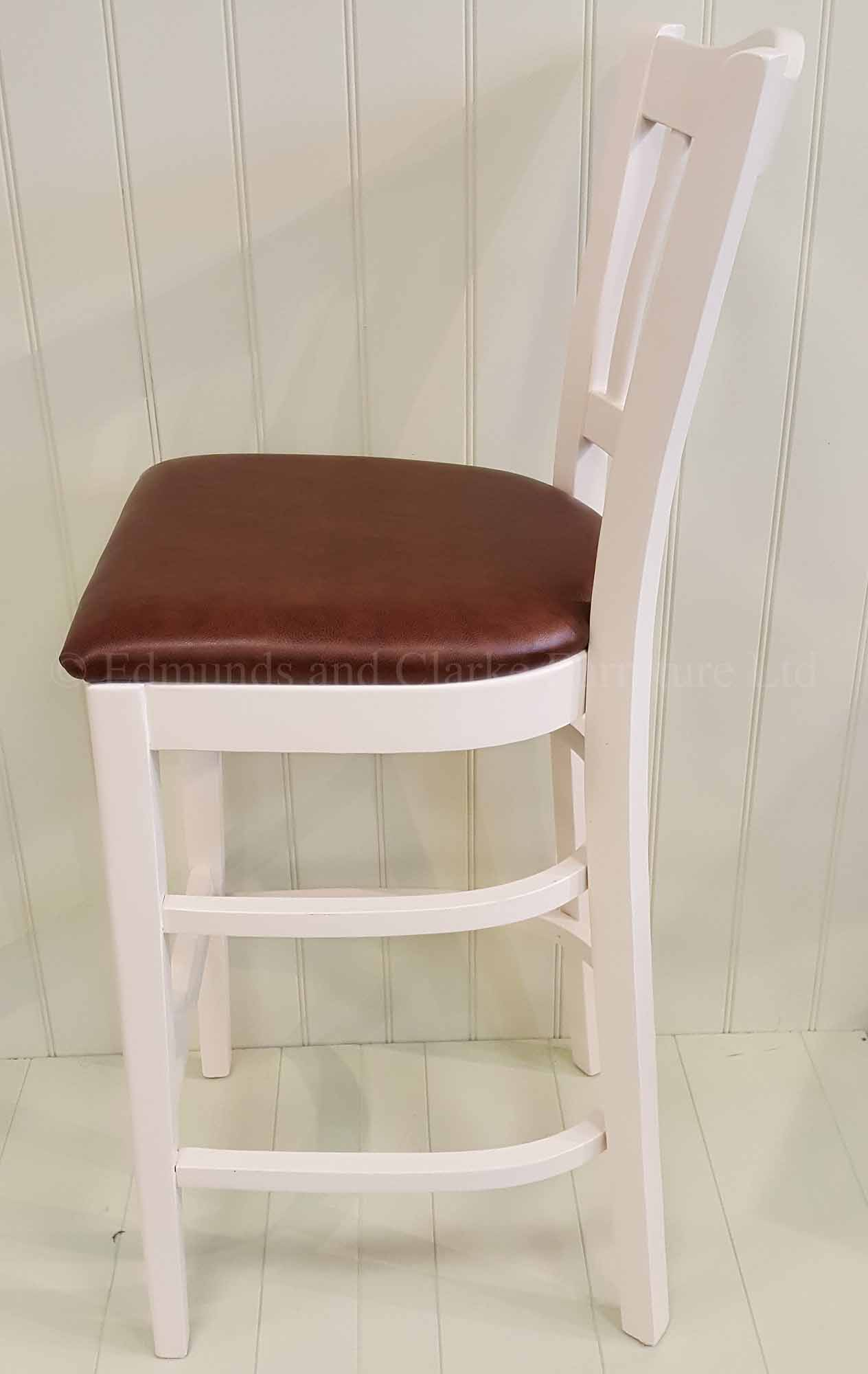 Kitchen breakfast bar stool painted white with leather seat