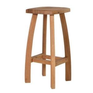 Bahamas solid oak bar stool, contoured backless seat with curved legs. 100% solid oak OA073