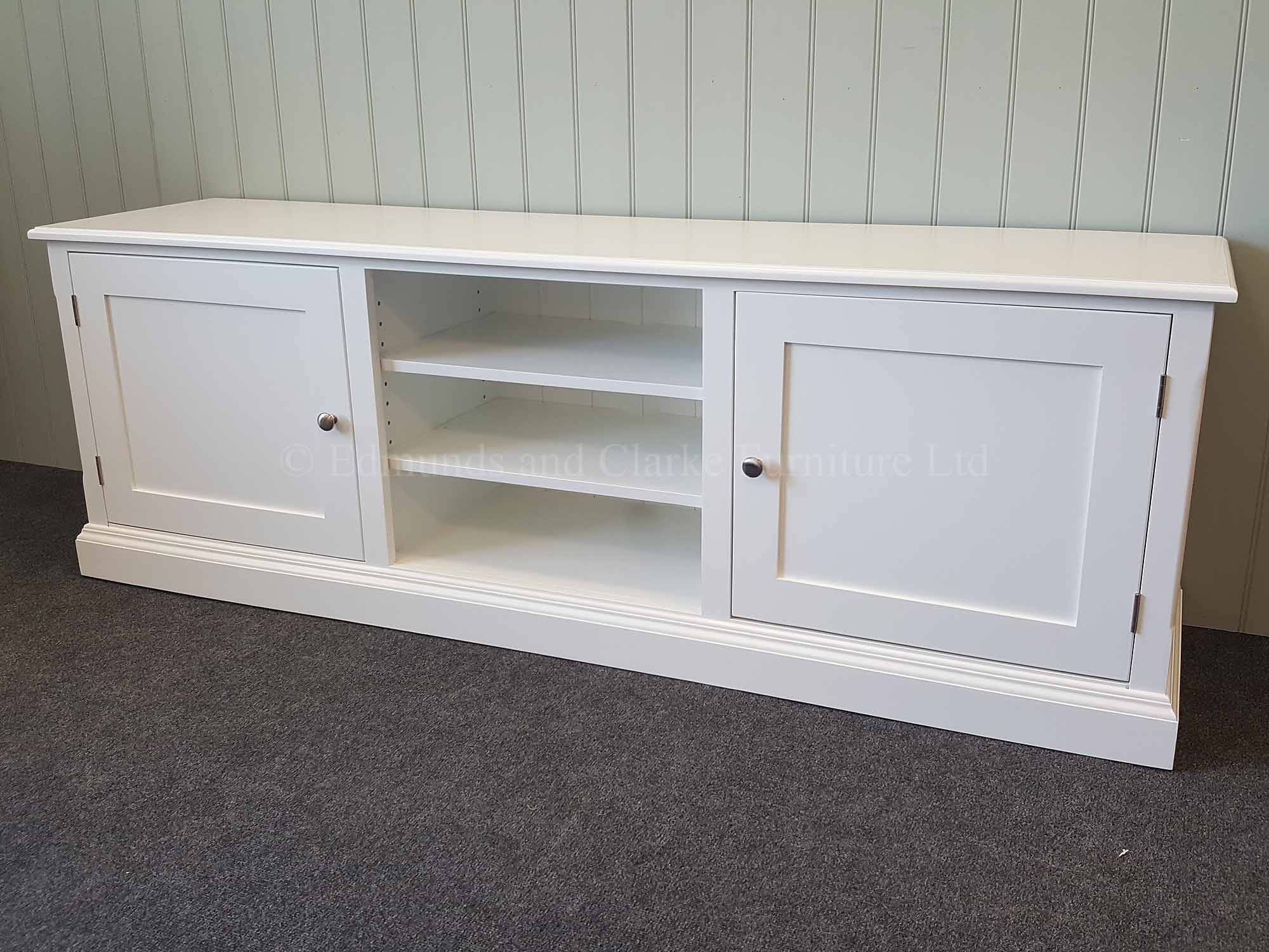 White painted tv entertainment stand adjustable central shelves door either side