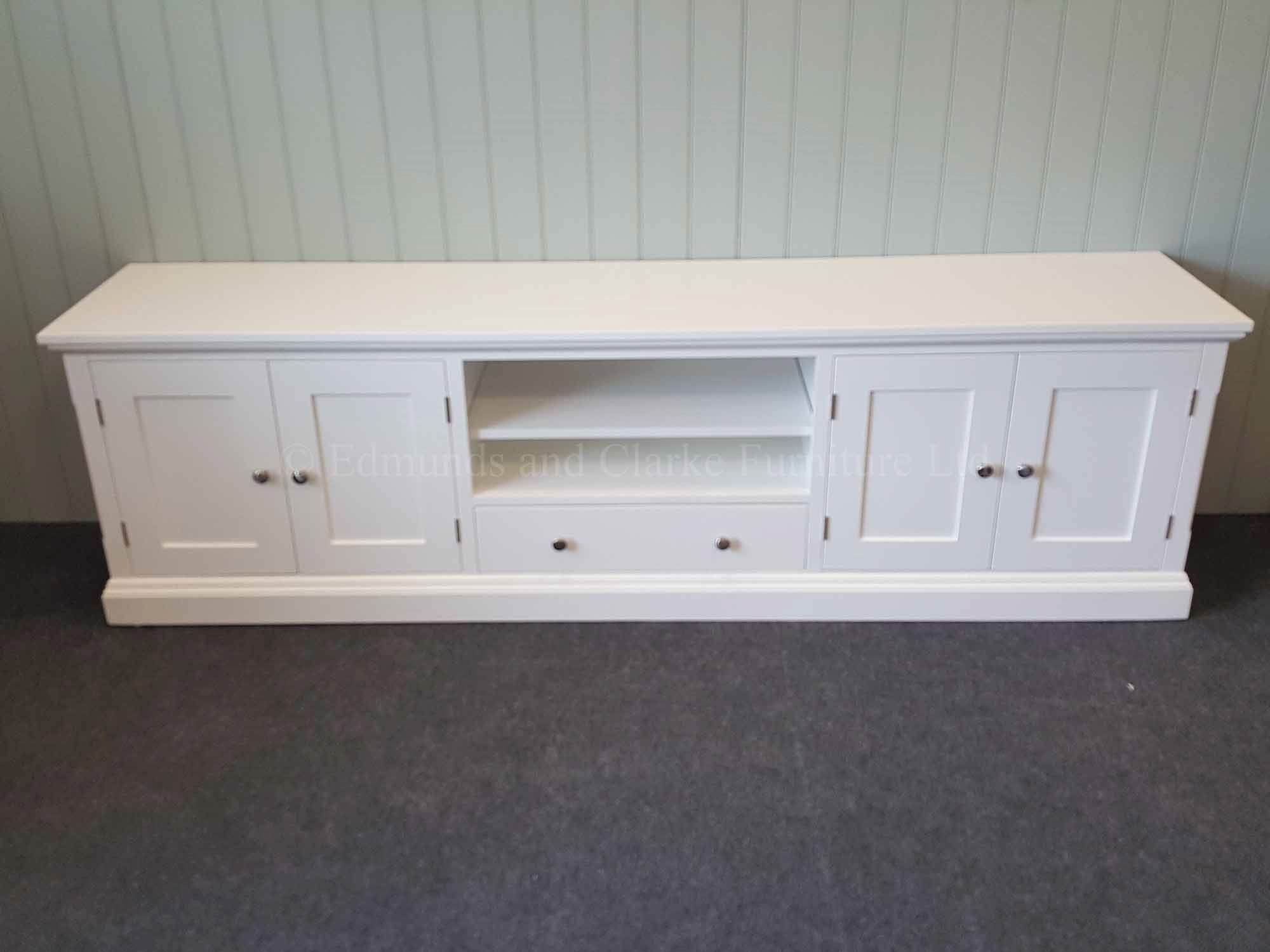 Painted white 7 feet Tv entertainment stand