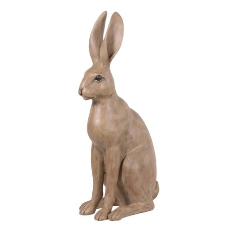 Sitting Hare sculpure, a large resin hare sitting with ears pinned up QHU249