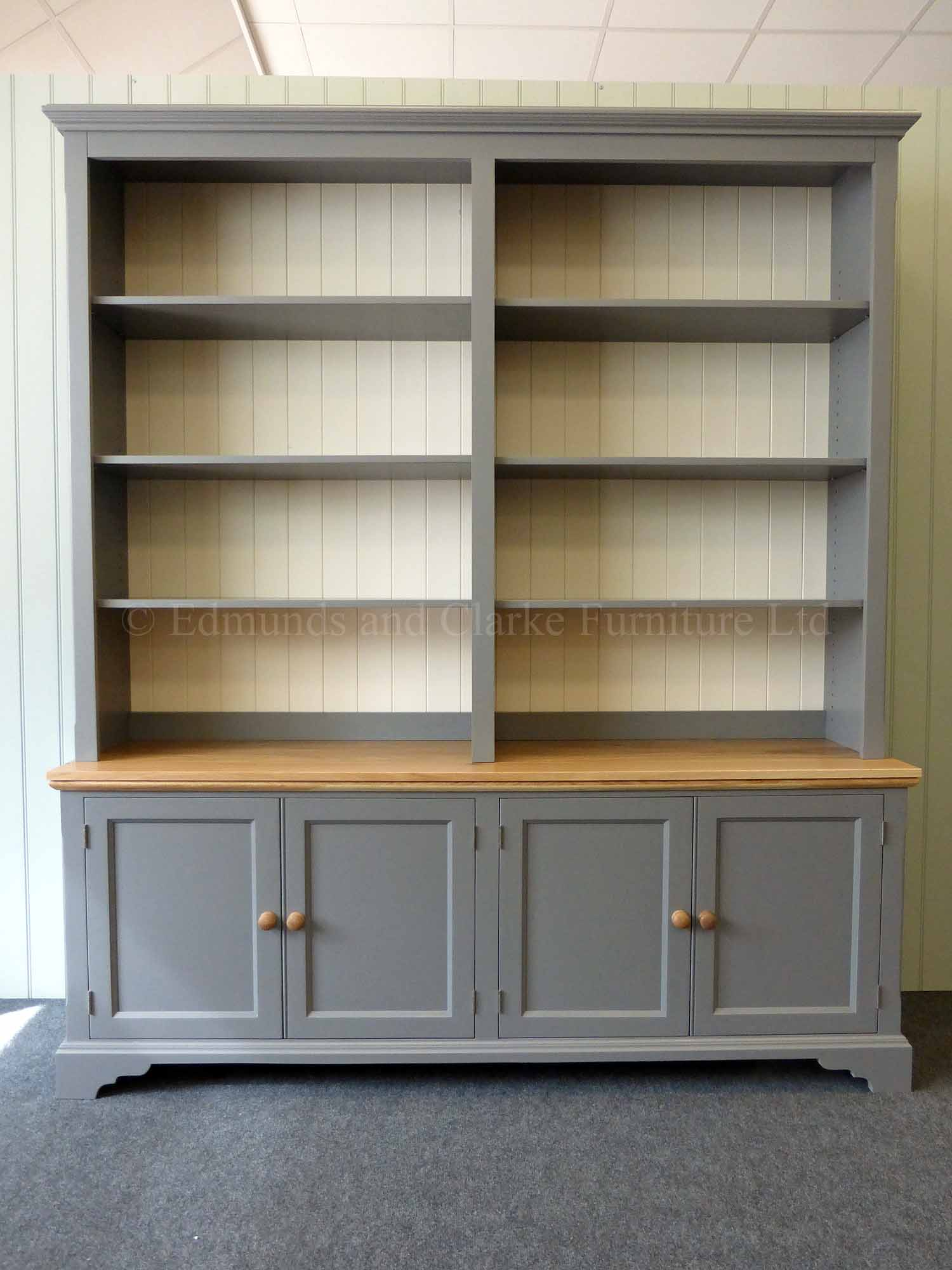 made to measure painted wide bookcase with four cupboards,