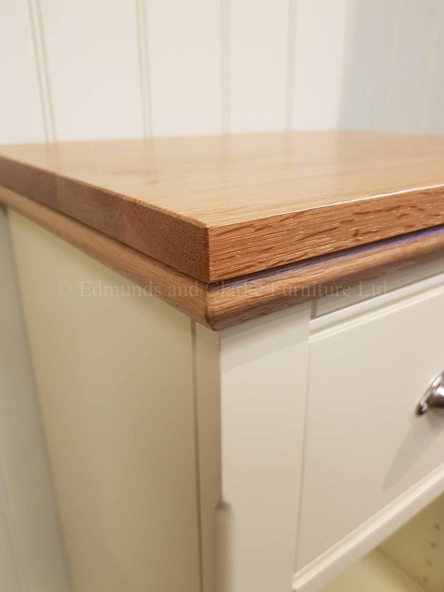 Narrow oak top painted bookcase with drawer