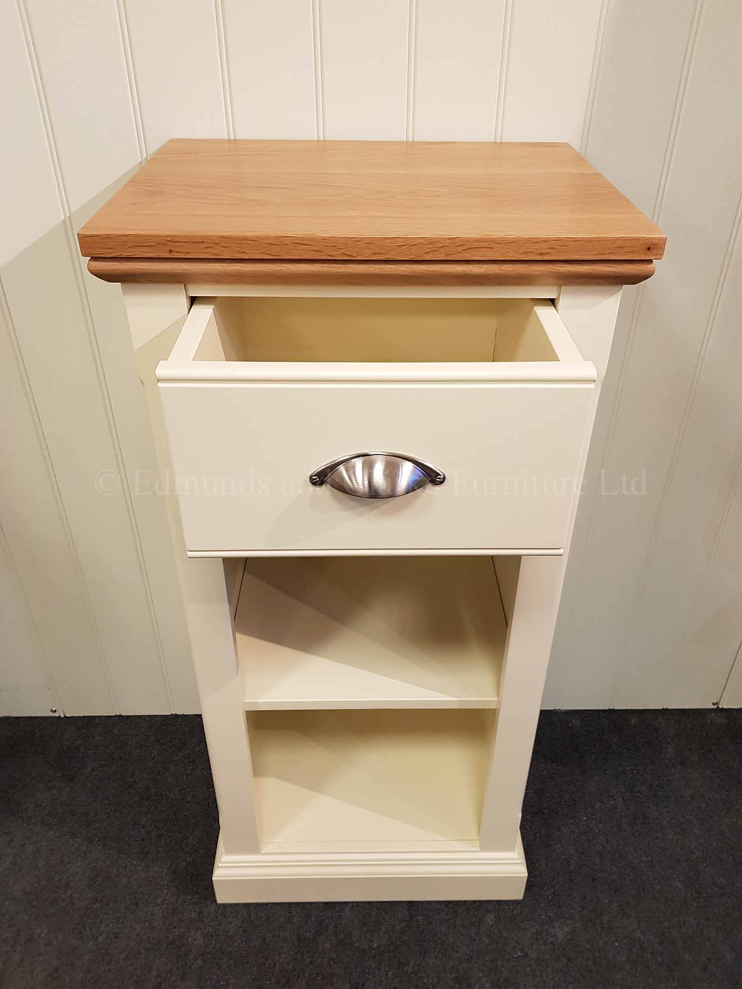 Painted bookcase with drawer above narrow can be made to measure
