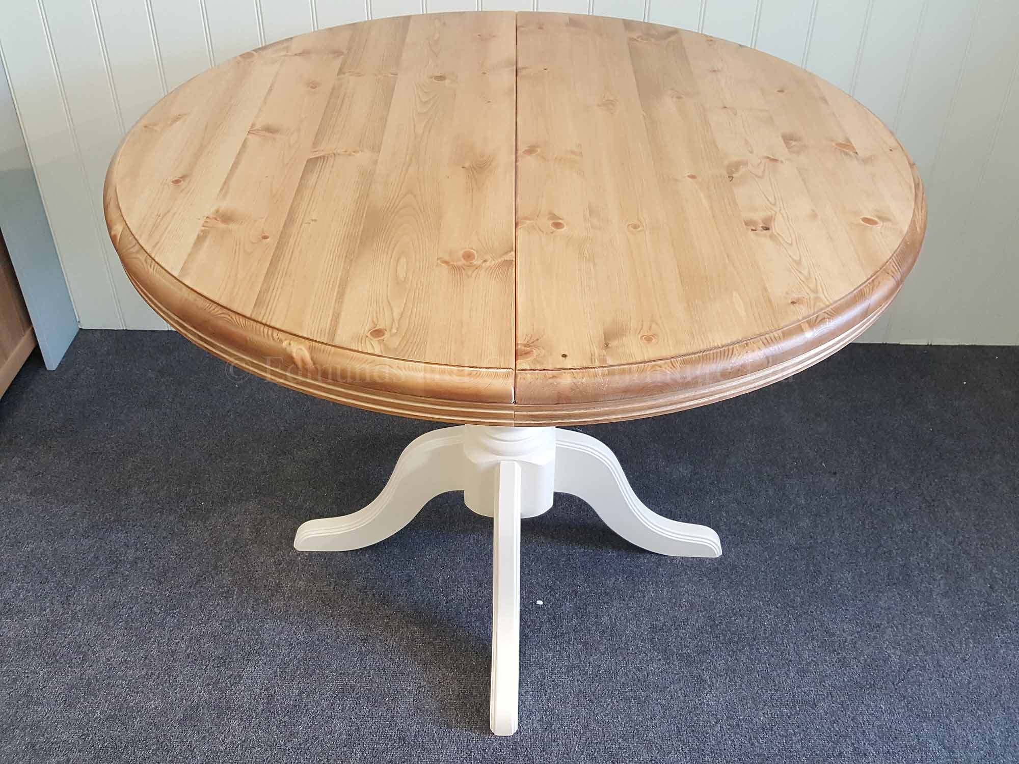 Round pine painted extending table closed