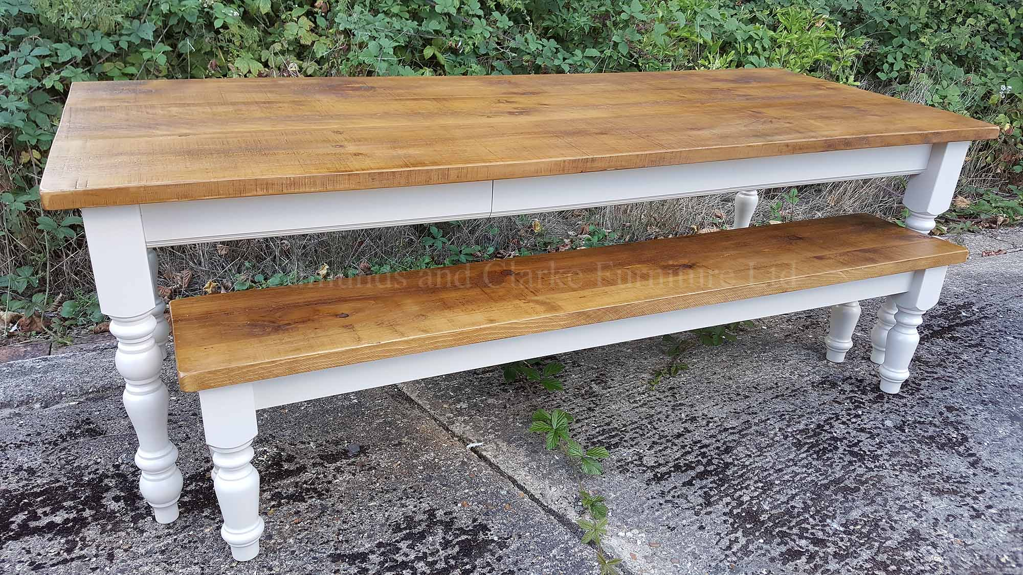 Edmunds painted farmhouse table with rough sawn pine top, painted legs