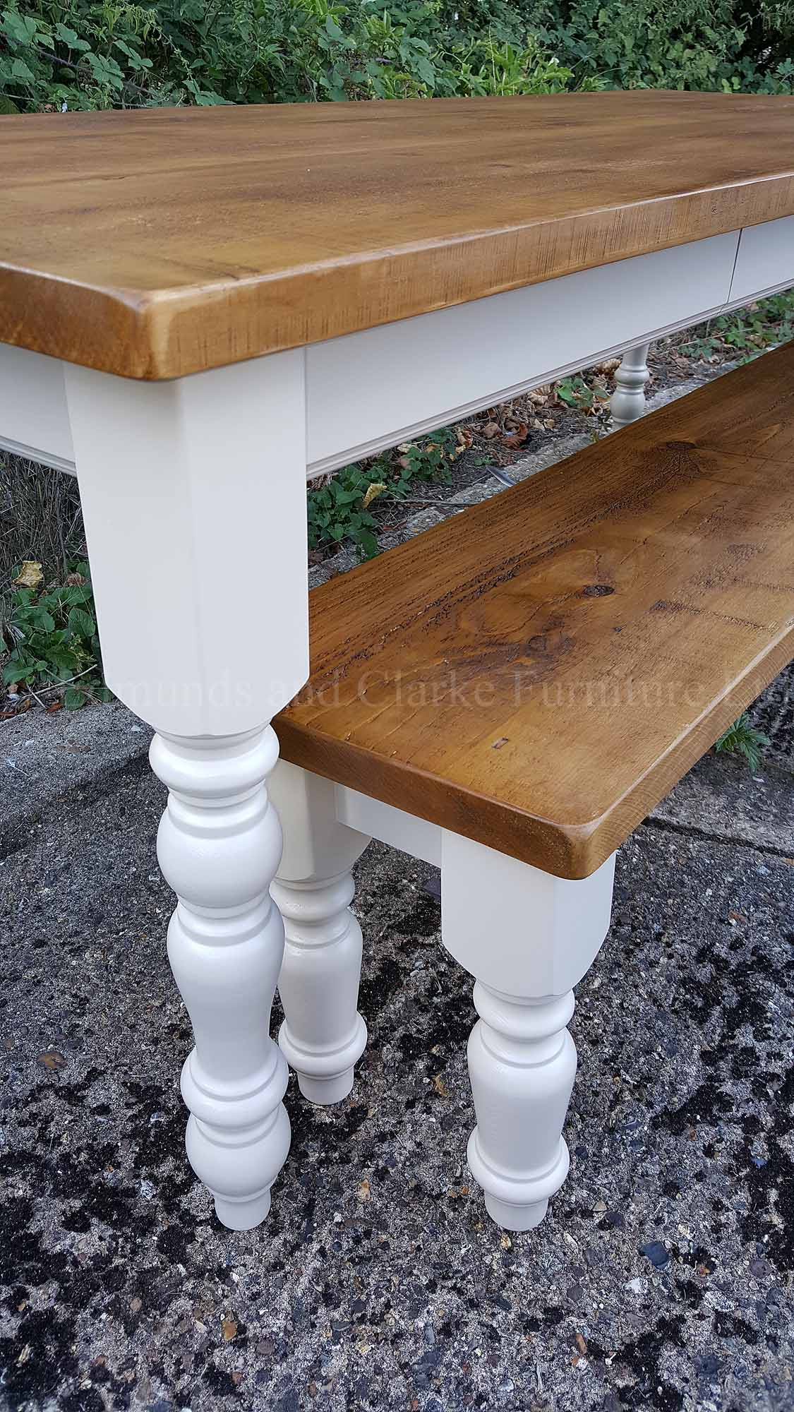 Edmunds painted farmhouse table, rough sawn pine waxed top, painted legs