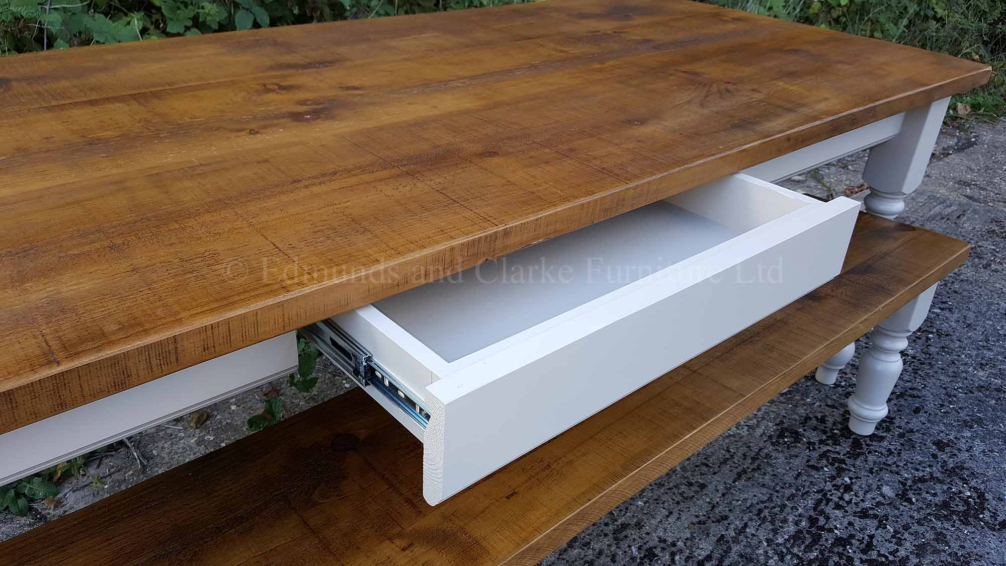 Rough sawn pine farmhouse table with drawer in side