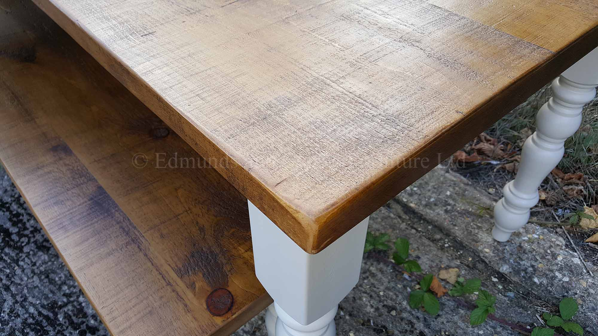 Rough sawn pine top table and painted turned legs Farmhouse styles