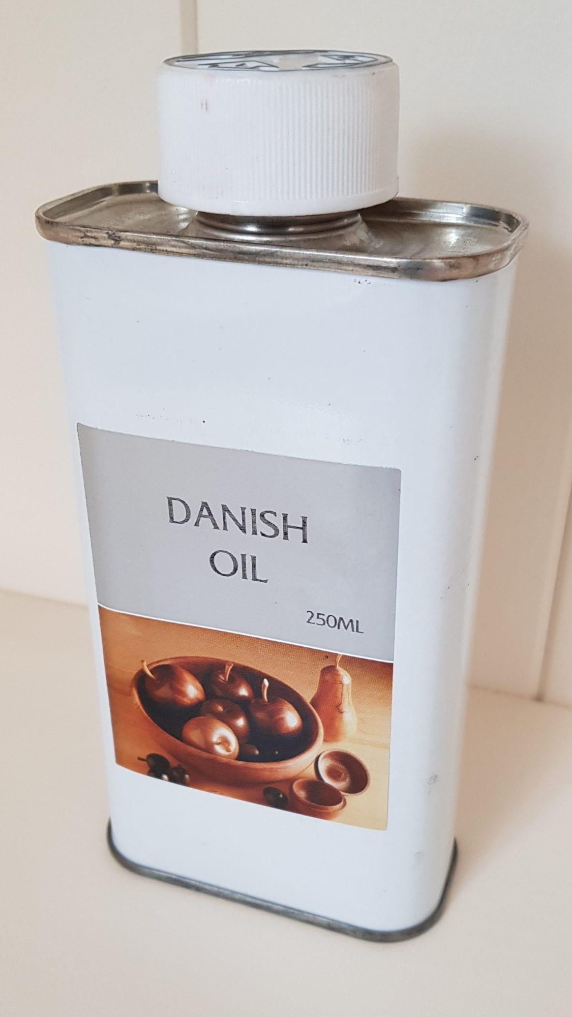 Tin of Mylands Danish Oil 250ml side angle