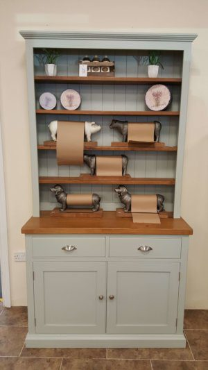 Small Edmunds painted open hutch dresser with rough sawn pine top and shelves. two drawers and doors