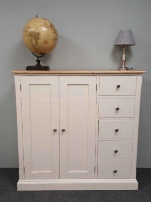 Painted multi function cupboard with door and five drawers to the right side. 10 colours to choose from and optional oak top or painted or pine tops available too. optional knobs or handles available