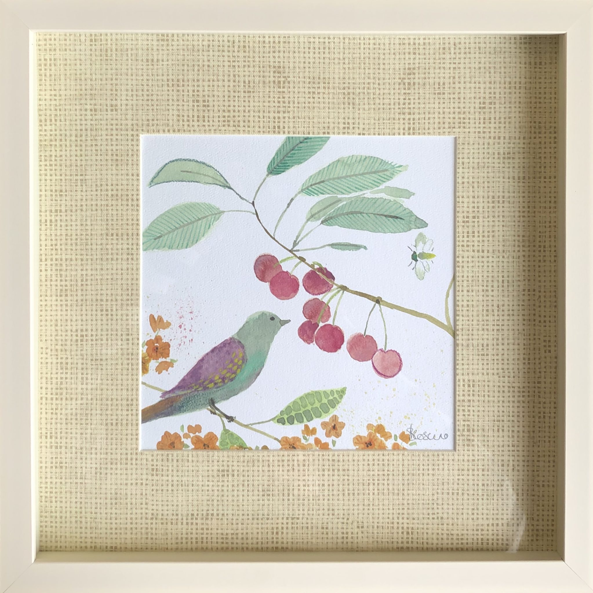 AF3505 Garden song by Sabrina roscino framed art of bird with berries