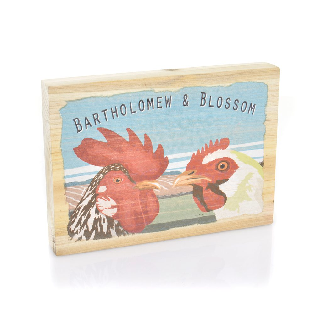 AP2080 Art marketing Bartholomew and blossom wood picture of hen and cockerel