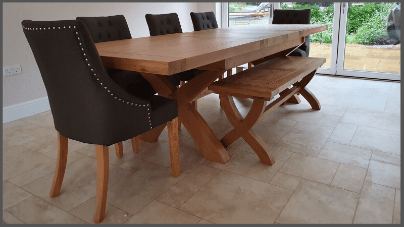 Melford cross leg table with charcoal windsor chairs