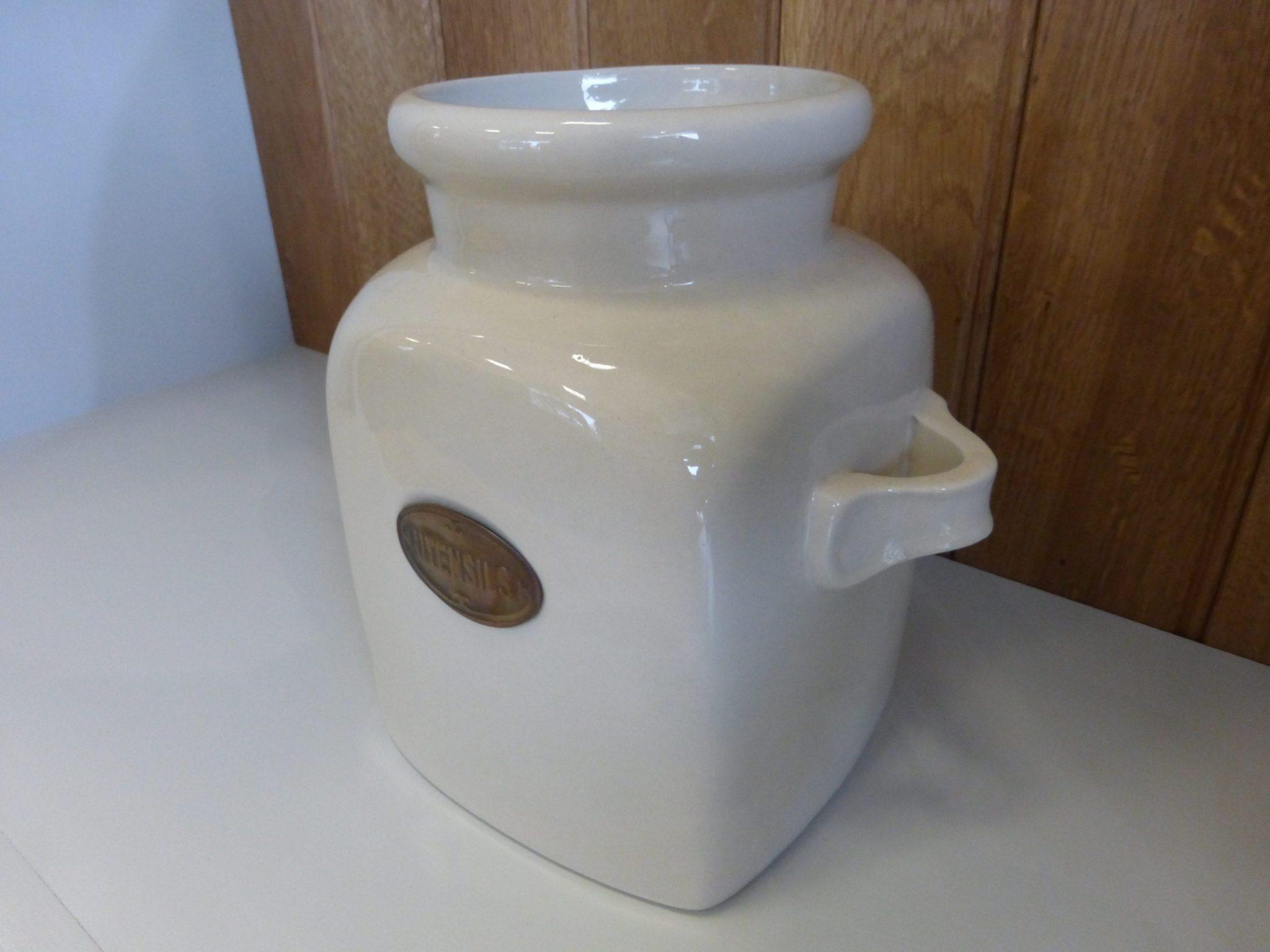 Utensil Jar side view of cream ceramic jar