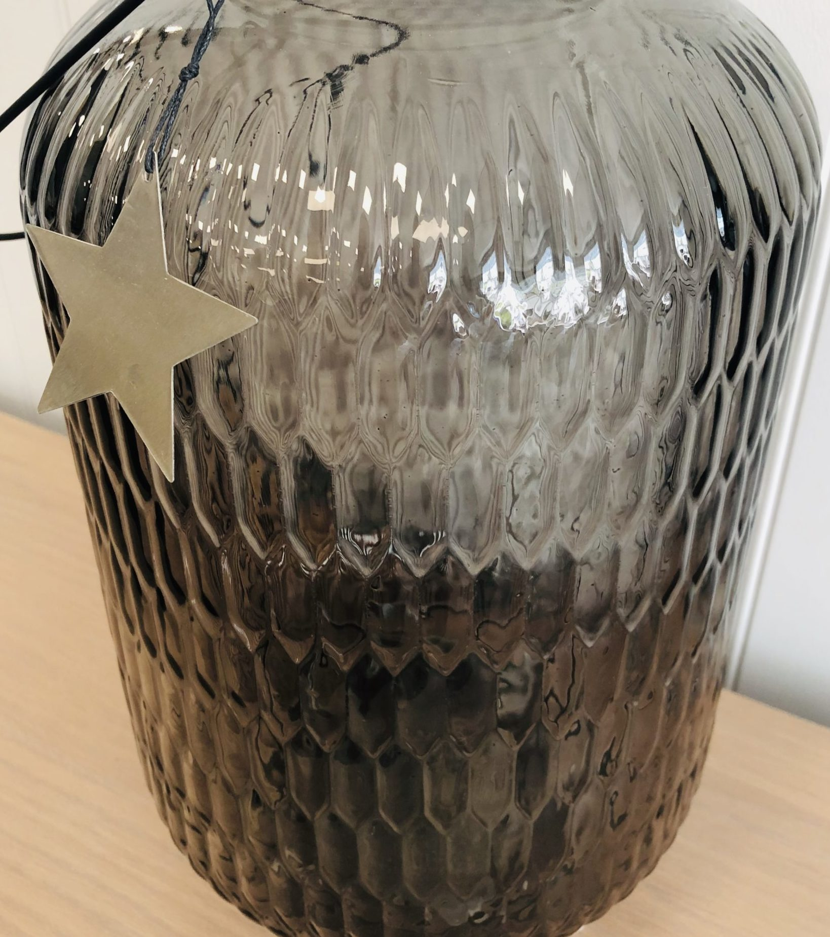 Large star grey vase jar