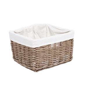 Rectangular basket with lining