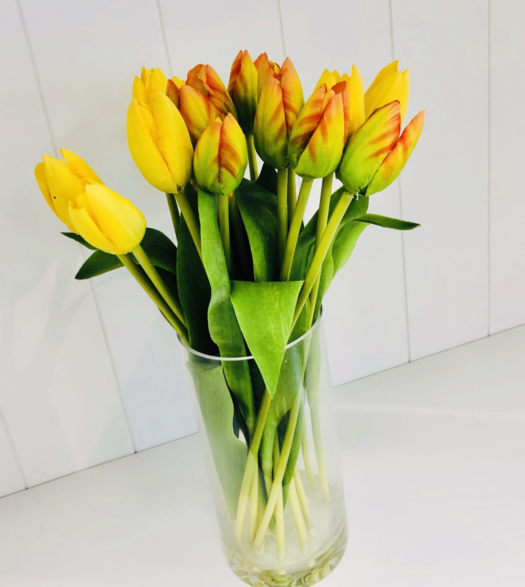 faux yellow and orange tulips