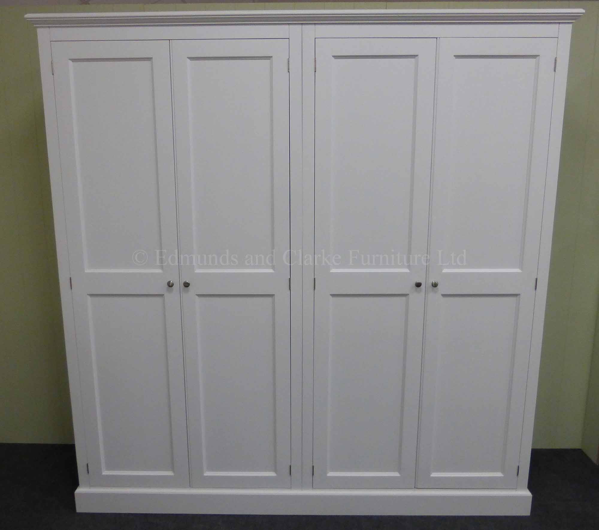 wide 2 metre four door wardrobe painted white