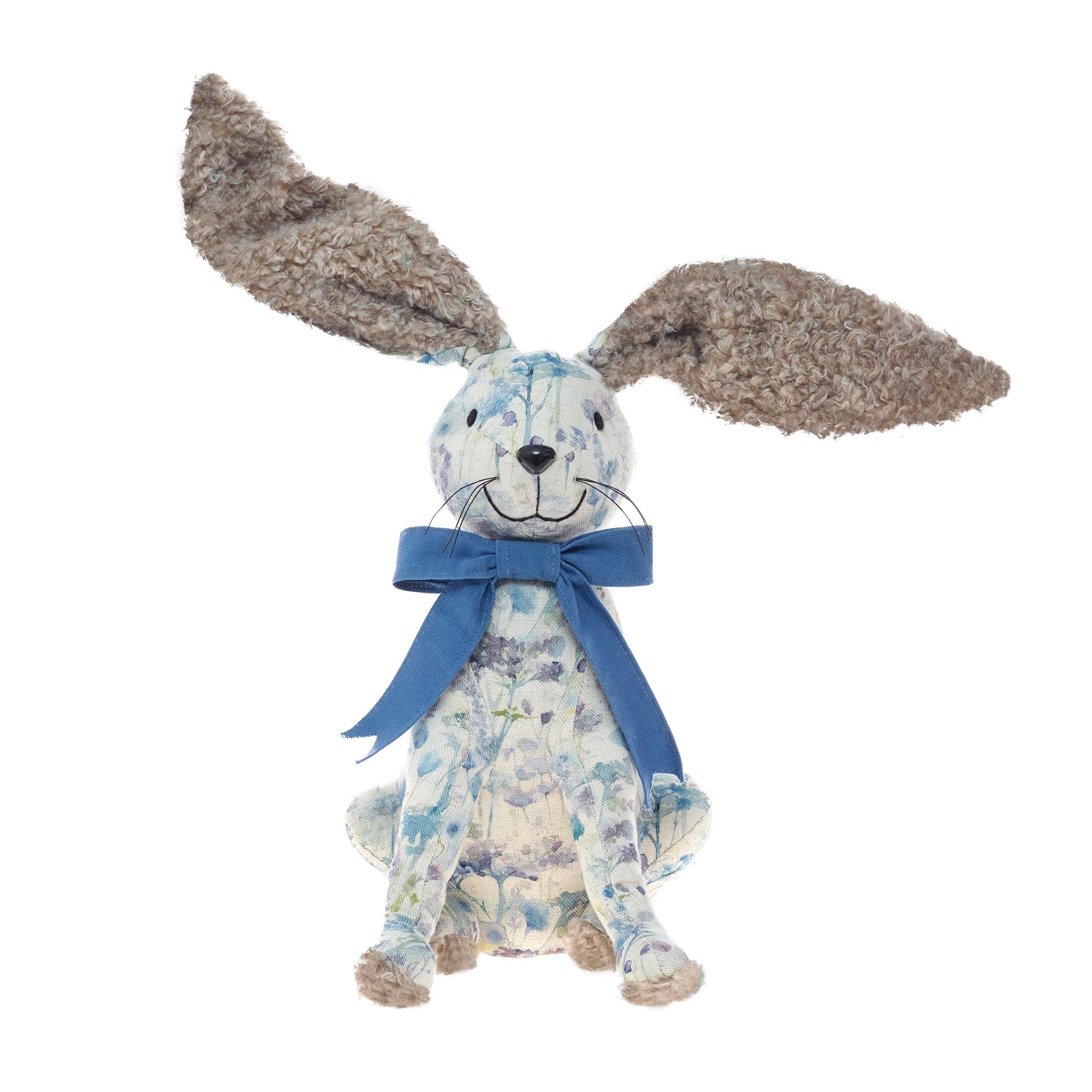 Voyage Maison Hattie Hare doorstop white and blue fabric with contrasting faux fur