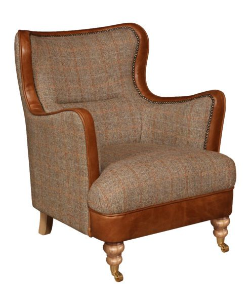 Vintage Sofa Company Ellis Fast Track Chair hunting lodge tweed and cerato brown leather low armchair
