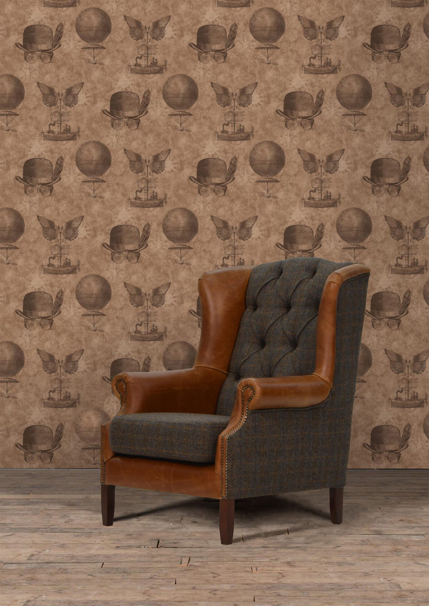Vintage Sofa Company Wing Fast Track Chair moreland tweed and cerato brown leather chesterfield armchair Lifestyle