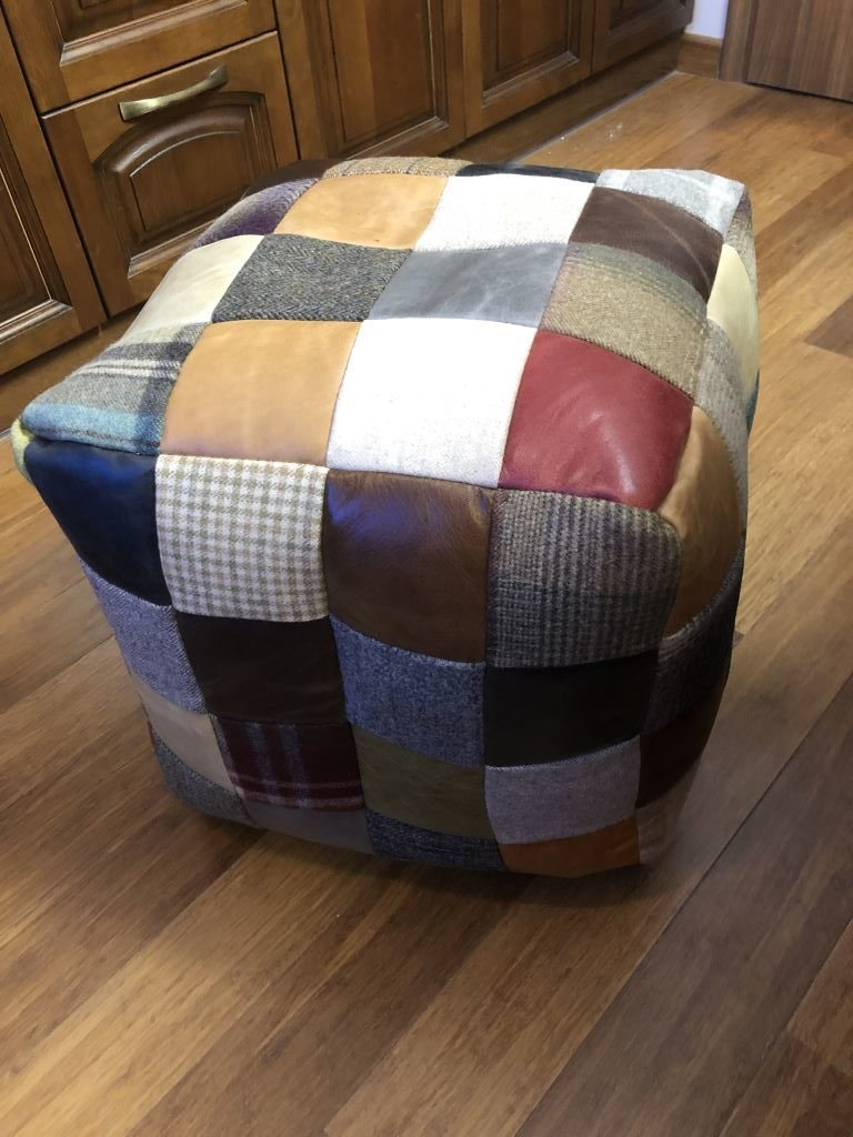 home image of Vintage Sofa Co square cube beanmade made from a patchwork of various fabrics including harris tweed and different colour leathers
